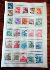 Vintage lot of 51 Bohemia and Moravia postage stamps hinged on sheets
