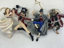 Lot of 4 Nutcracker Ballet Christmas Ornaments Clara Mouse King Heavy Resin Rare