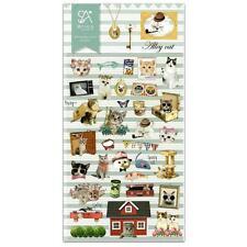 CUTE ALLEY CAT STICKERS Kitty Kawaii Nylon Sticker Sheet Craft Scrapbook Seal