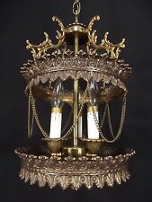 Antique SOLID BRASS 3 candle Swag Hanging Lamp vintage chain HOLLYWOOD REGENCY