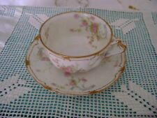 Haviland Limoges Double Gold Small Pink Roses Cup and Saucer Schleiger  57N #3