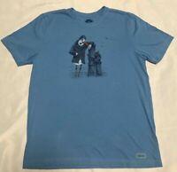 Life is Good Mens Short Sleeve Light Blue Salty Bird Crusher T-Shirt Size L NWOT