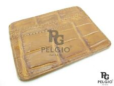 PELGIO Genuine Crocodile Alligator Skin Leather Slim Credit Card Holders Brown