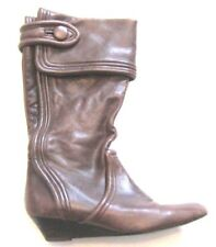 MIGLIORINI Brown Leather Fold Over Mid-Calf Pointed Toe Wedge Heel Boots sz 7