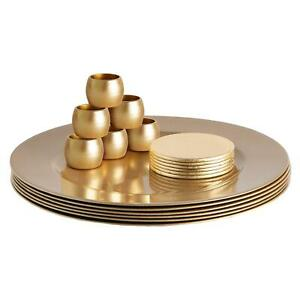 18 Piece Metallic Charger Plates Set Under Plate Coasters Napkin Rings Gold