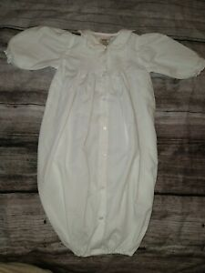 Petit Ami Newborn White Gown Sack Christening Smocked Lace Light Weight
