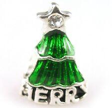 Christmas tree charm charms slide xmas pd European crystal enamel star silver UK
