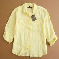 Tommy Bahama Womens Button Up Linen Blouse Shirt Size Large Yellow Long Sleeve