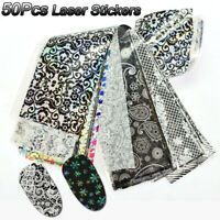 50 Pcs Laser Starry Nail Foil Mixed Designs Nail Art Stickers Holographic Decals