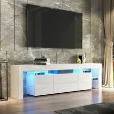 200cm High Gloss TV Stand Cabinet Entertainment Unit Storage With LED White