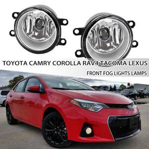 Fit Toyota Corolla Rav4 Tacoma Camry Lexus H11 Clear Lens Fog Lights Lamps Pair
