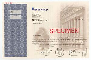 NYSE Group, Inc., 2006 Specimen Commemorative Stock Certificate, VF ABN Blue