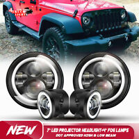 For Jeep Wrangler JK 2007-2017 7'' LED Projector Headlight Hi/Lo & 4'' Fog Lamps