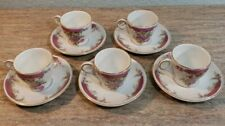 Vintage Ritz Carlton Hotel Demitasse Cup & Saucer King Rose Pattern Lot of 5
