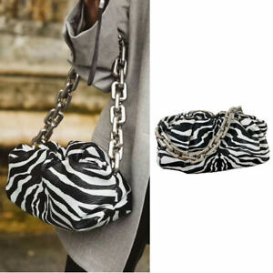 Microfiber Leather Zebra Chunky Silver Metal Chain Pouch Ruched Shoulder Bag
