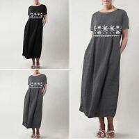 Women Baggy Short Sleeve Floral Party Vintage Dresses Long Maxi Dress Sundress