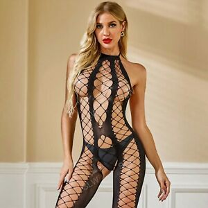 Sexy Lingerie Fishnet Bodystocking Bodysuit Backless Halter Neck Babydoll Dress