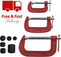 """3pc HEAVY DUTY G - CLAMP SET 2"""" 3"""" 4"""" JAW PADS CLAMPS 50mm 75mm 100mm WOODWORK"""