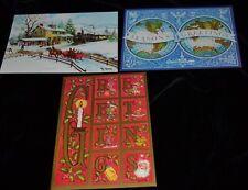 JAMES COX 3 Vtg UNUSED Greeting Cards CHRISTMAS SANTA ELF Famous Artist Studios