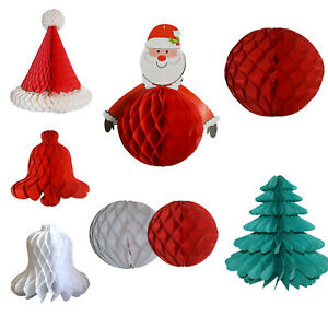 Christmas Hanging Paper Party Festive Honeycomb Bell Tree Santa Hat Decoration