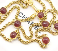 "CHANEL Red Gripoix Chain Necklace 30"" Gold Tone Vintage NN"