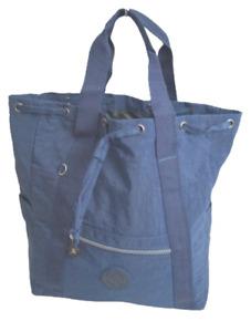 Rucksack Schultertasche Crinkle Nylon Cityrucksack Handtasche Bagpack Blau