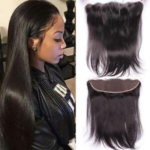 "13x2"" Peruvian Straight Full Lace Frontal Closure Virgin Human Hair Pre Plucked"