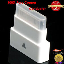 White Dock Extender Adapter Converter 30Pin Pass Through Adapter for iPhone,iPad