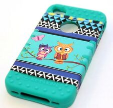 iPHONE 4 4G 4S -HARD & SOFT RUBBER HYBRID IMPACT CASE TURQUOISE GREEN OWL BRANCH