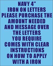 """Pack of 10 X 4"""" Navy Iron on Characters - Letters or Numbers Vinyl Printing"""