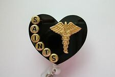 NEW ORLEANS SAINTS CADUCEUS RN NURSE LPN DOCTOR MD MEDICAL STAFF BADGE HOLDER