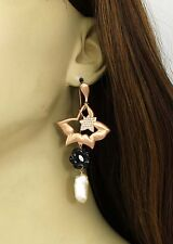 New 18kt Rose Gold Diamond, Onyx & Freshwater Pearl Drop Dangle Floral Earrings