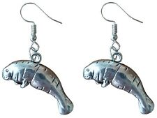 Silver Tone Florida Manatee Charm Earrings by Pashal