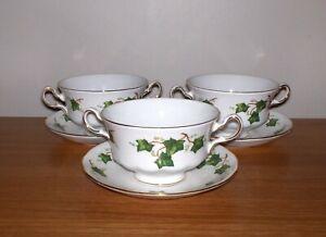 colclough ivy leaf soup coupes / cups & saucers x 4