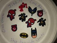 Batman & Spider-Man Lot Of 10 Crocs Shoe,Bracelet,Lace Adapter Charms,Jibbitz