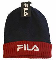 Fila Logo Cuff Beanie Men's Knit Hat Ski Cap Red White Blue Classic Color Block