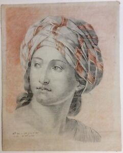 Large antique original French drawing of young woman, dated 1798