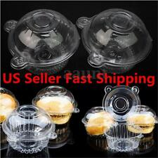 100 Clear Plastic Single Cupcake Cake Case Muffin Pod Dome Box Container Holder