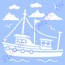 "11"" Tugboat Boat Stencil Template Nautical Sea Ocean Stencils Beach Craft Art"