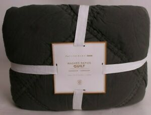 Pottery Barn PB Teen Washed Rapids twin quilt, washed olive green