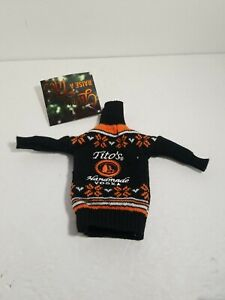 Titos Handmade Vodka Mini Ugly Sweater For 750ml Bottle Black Orange NEW Tags
