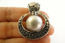 Round White Mabe Pearl Solitaire 925 Sterling Silver Pendant