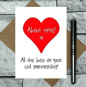 funny civil partnership card - about time - congratulations - long term couple
