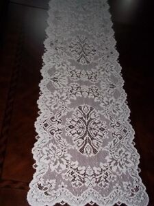LACE TABLE RUNNER IVORY FLORAL HOME DECOR ACCENT 36 X 14 ITRF728