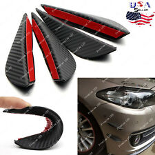 4x Carbon Fiber Pattern Black Spoiler Front Bumper Canards Splitter Trim Lip Kit