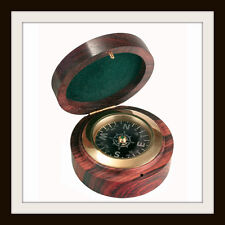 NAUTICAL COMPASS IN ROSEWOOD BOX ~ DESK PAPERWEIGHT