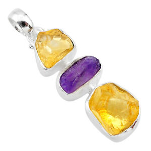 925 Sterling Silver 12.12cts Yellow Citrine Raw Amethyst Rough Pendant T33414
