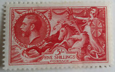 GB KGV 1934 5/- SG451 Bright Rose-Red Seahorse LH-MINT See Scans