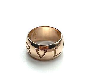BVLGARI 18KT Rose Gold Monologo Band Ring Euro Size 54 US Size 6.75