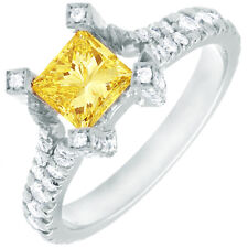 Fancy Yellow 2.25 CT Princess Cut 18k Gold GIA Certified Diamond Engagement Ring